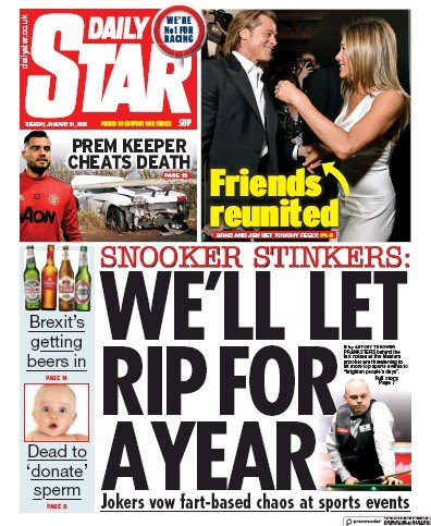 Daily Star Newspaper Front Page (UK) for 21 January 2020