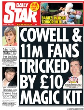 Daily Star (UK) Newspaper Front Page for 21 April 2015