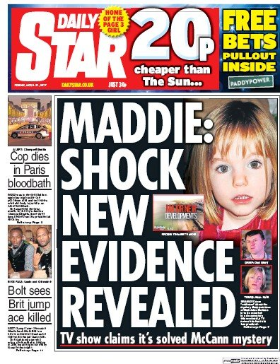 Daily Star Newspaper Front Page (UK) for 21 April 2017