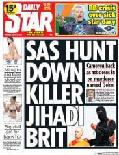 Daily Star (UK) Newspaper Front Page for 21 August 2014