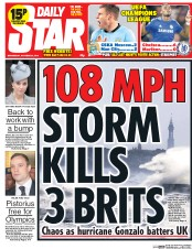 Daily Star (UK) Newspaper Front Page for 22 October 2014