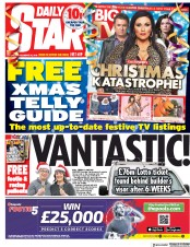 Daily Star (UK) Newspaper Front Page for 22 December 2018