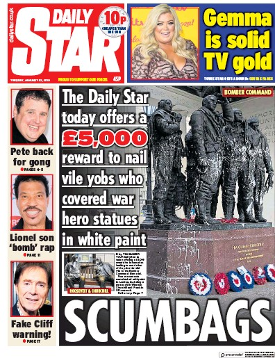 Daily Star Newspaper Front Page (UK) for 22 January 2019