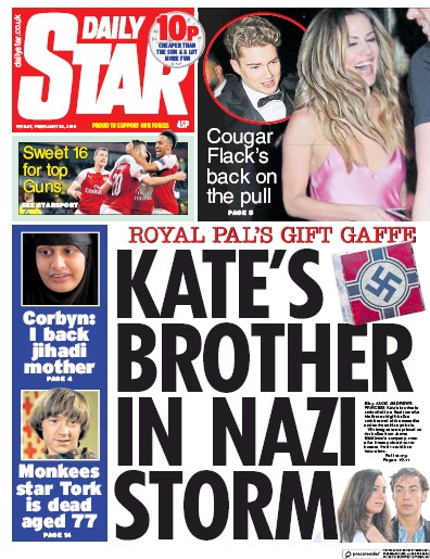 Daily Star Newspaper Front Page (UK) for 22 February 2019