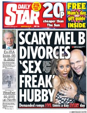 Daily Star (UK) Newspaper Front Page for 22 March 2017