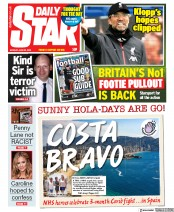 Daily Star front page for 22 June 2020