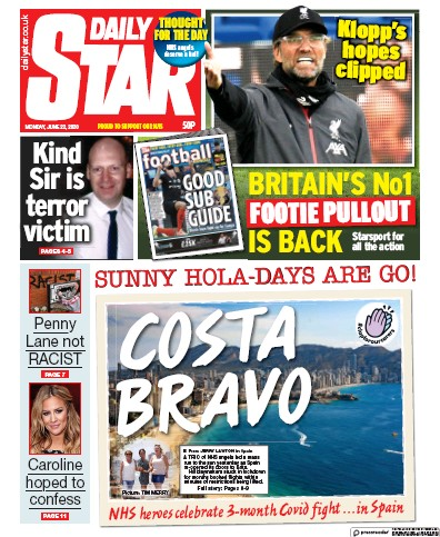Daily Star Newspaper Front Page (UK) for 22 June 2020