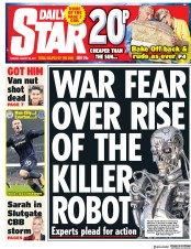 Daily Star (UK) Newspaper Front Page for 22 August 2017
