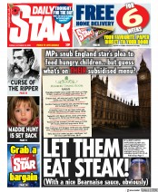 Daily Star front page for 23 October 2020