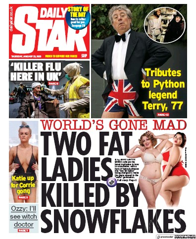Daily Star Newspaper Front Page (UK) for 23 January 2020