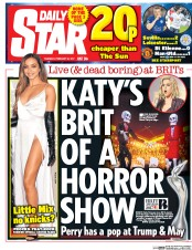 Daily Star (UK) Newspaper Front Page for 23 February 2017