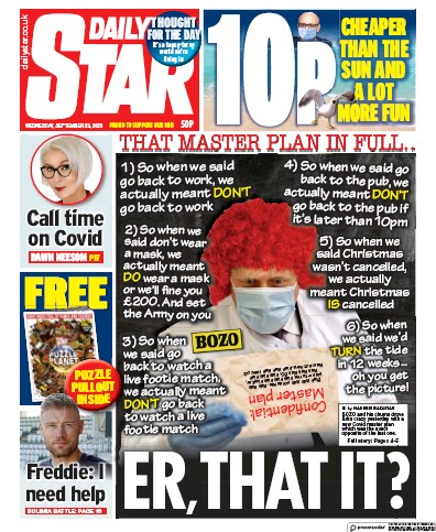 Daily Star Newspaper Front Page (UK) for 23 September 2020