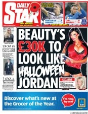 Daily Star (UK) Newspaper Front Page for 24 October 2014