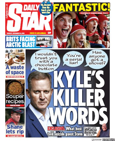 Daily Star Newspaper Front Page (UK) for 24 November 2020