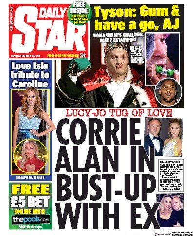 Daily Star Newspaper Front Page (UK) for 24 February 2020