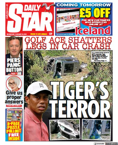 Daily Star Newspaper Front Page (UK) for 24 February 2021
