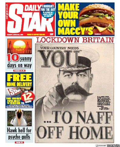 Daily Star Newspaper Front Page (UK) for 24 March 2020