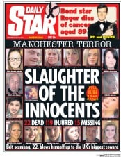 Daily Star (UK) Newspaper Front Page for 24 May 2017