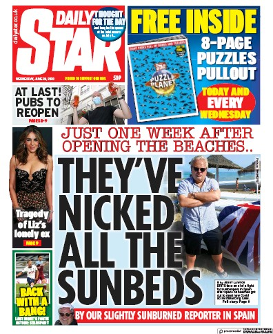 Daily Star Newspaper Front Page (UK) for 24 June 2020