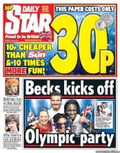 Daily Star Newspaper Front Page (UK) for 24 July 2012