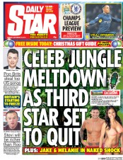 Daily Star (UK) Newspaper Front Page for 25 November 2014