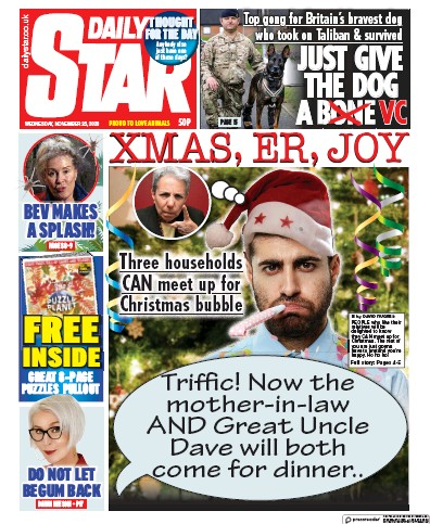 Daily Star Newspaper Front Page (UK) for 25 November 2020