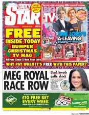 Daily Star (UK) Newspaper Front Page for 25 December 2017