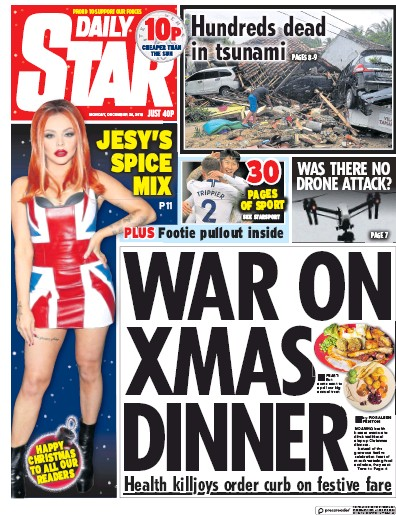 Daily Star Newspaper Front Page (UK) for 25 December 2018
