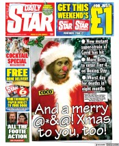 Daily Star (UK) Newspaper Front Page for 25 December 2020