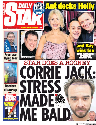 Daily Star Newspaper Front Page (UK) for 25 January 2019
