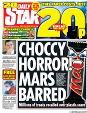 Daily Star (UK) Newspaper Front Page for 25 February 2016