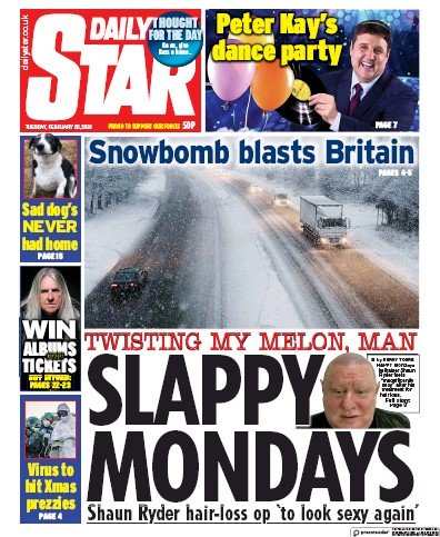Daily Star Newspaper Front Page (UK) for 25 February 2020