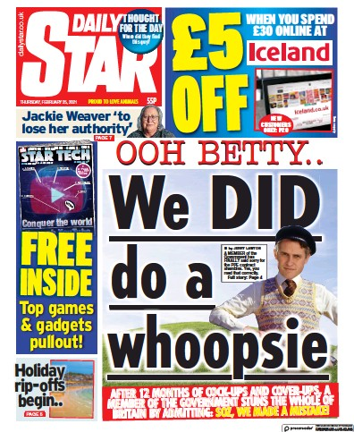 Daily Star Newspaper Front Page (UK) for 25 February 2021