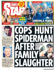 Daily Star (UK) Newspaper Front Page for 25 May 2015