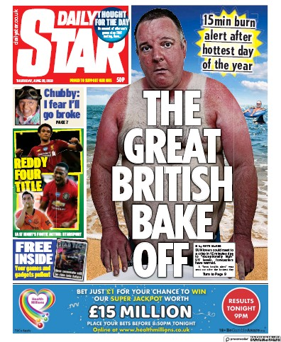 Daily Star Newspaper Front Page (UK) for 25 June 2020