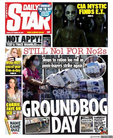 Daily Star Newspaper Front Page (UK) for 25 September 2020