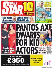Daily Star (UK) Newspaper Front Page for 26 November 2018