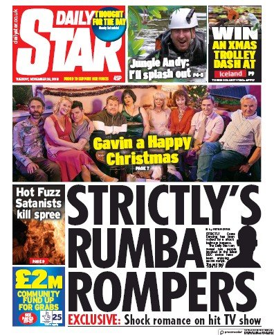 Daily Star Newspaper Front Page (UK) for 26 November 2019