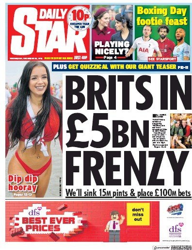 Daily Star Newspaper Front Page (UK) for 26 December 2018