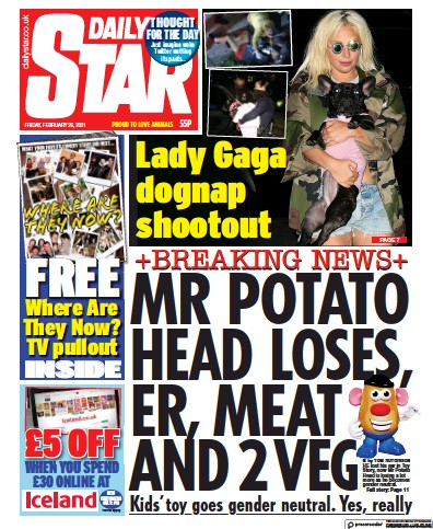 Daily Star Newspaper Front Page (UK) for 26 February 2021