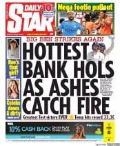 Daily Star () Newspaper Front Page for 26 August 2019
