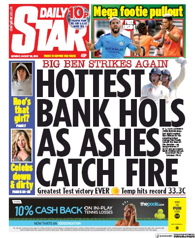 Daily Star Newspaper Front Page (UK) for 26 August 2019