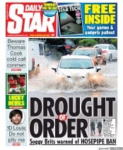 Daily Star (UK) Newspaper Front Page for 26 September 2019
