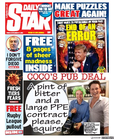 Daily Star Newspaper Front Page (UK) for 27 November 2020