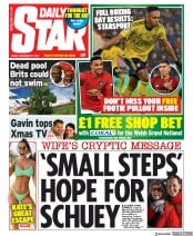 Daily Star (UK) Newspaper Front Page for 27 December 2019