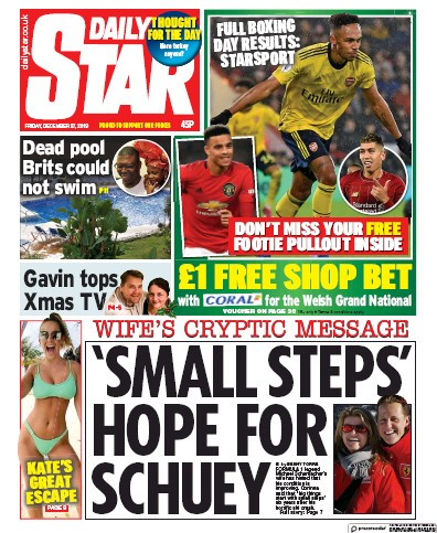 Daily Star Newspaper Front Page (UK) for 27 December 2019