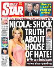 Daily Star () Newspaper Front Page for 27 January 2012