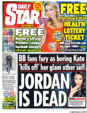 Daily Star (UK) Newspaper Front Page for 27 January 2015