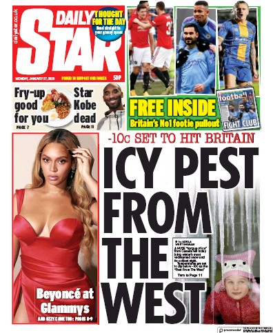 Daily Star Newspaper Front Page (UK) for 27 January 2020