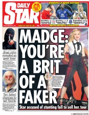 Daily Star (UK) Newspaper Front Page for 27 February 2015